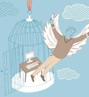 Businessman with wings escaping office inside of birdcage 20039006303| 写真素材・ストックフォト・画像・イラスト素材|アマナイメージズ