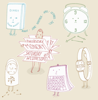 Anthropomorphic calendars and clocks stressed about time