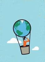 Businesswoman looking ahead in globe hot air balloon