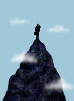 Businessman using cell phone on mountain top 20039006658| 写真素材・ストックフォト・画像・イラスト素材|アマナイメージズ