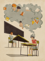 Gray cloud of distractions over schoolboy working in detention