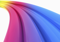 Abstract multicolored curving tubes on white background