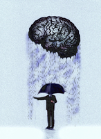 Businessman with umbrella checking rain from brain
