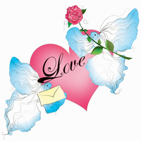 Two birds with heart, love letter and red rose