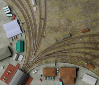 Overhead view of railway tracks at train station