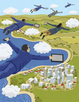 Business people flying through clouds holding digital tablets and smart phones 20039007397| 写真素材・ストックフォト・画像・イラスト素材|アマナイメージズ