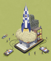 Business people launching new business rocket with smart phone technology 20039007410| 写真素材・ストックフォト・画像・イラスト素材|アマナイメージズ