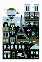 Tourism montage of famous landmarks in Paris