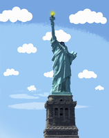 Statue of Liberty with head in the clouds