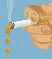 Hand holding smoking cigarette dropping pound coin ash