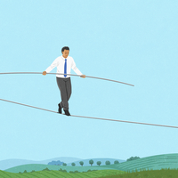 Anxious businessman walking tightrope over countryside
