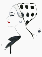 Elegant woman wearing polka dot pillbox hat 20039008021| 写真素材・ストックフォト・画像・イラスト素材|アマナイメージズ