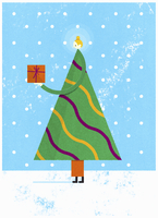 Christmas tree holding out gift 20039008031| 写真素材・ストックフォト・画像・イラスト素材|アマナイメージズ