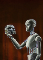 Android Hamlet looking at robot skull in hand