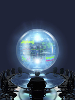 Businessman staring at data inside large crystal ball on boardroom table