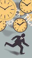 Businessman running to escape ticking clocks