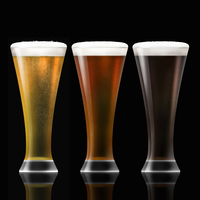 Row of lager, bitter and stout beer in beer glasses