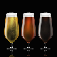 Row of lager, bitter and stout beer in stemmed glasses