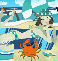 Young woman relaxing on beach in bikini looking at crab as Cancer zodiac sign