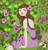 Young woman sitting in lush garden with flowers and birds as Virgo zodiac sign