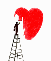 Man on ladder painting large red heart shape