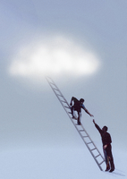 Man reaching up to helping hand from man on ladder
