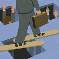 Businessman walking on planks avoiding holes in ground