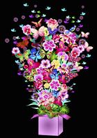 Abundance of bright flowers, butterflies and birds bursting from gift box