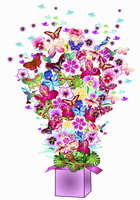 Abundance of bright flowers, butterflies and birds bursting from gift box