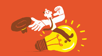Happy businessman rodeo rider riding light bulb