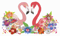 Two flamingos looking at each other surrounded by flowers