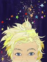 Glitter and stars surrounding boy's head