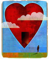 Woman looking up at open door in heart shape in sky