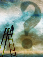 Woman standing on top of step ladder looking at large question mark in sky