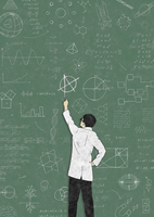 Scientist drawing anarchy symbol on blackboard covered in formula