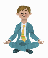 Happy businessman sitting meditating in lotus position