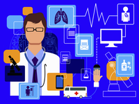 Doctor and computer technology in healthcare montage