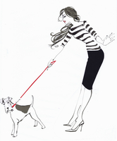 Wire fox terrier straining at the leash held by fashionable young woman