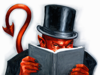 Devil wearing top hat reading book