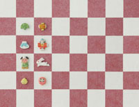 紅白の市松模様とうさぎとお正月のアイテム 20041000250| 写真素材・ストックフォト・画像・イラスト素材|アマナイメージズ