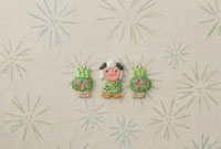 松の葉の模様の上に獅子舞と門松 20041000280| 写真素材・ストックフォト・画像・イラスト素材|アマナイメージズ