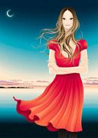 夕暮れの海を背に立つ女性