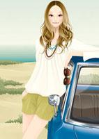 浜辺で車に寄りかかり立っている女性