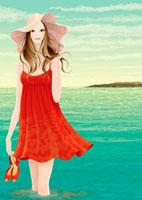 浜辺の浅瀬に立っている女性 20041000333| 写真素材・ストックフォト・画像・イラスト素材|アマナイメージズ