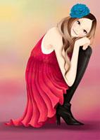しゃがんでいる女性 20041000335| 写真素材・ストックフォト・画像・イラスト素材|アマナイメージズ