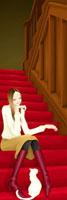階段に座って猫と戯れている女性 20041000346| 写真素材・ストックフォト・画像・イラスト素材|アマナイメージズ