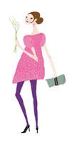 ピンクのワンピースの女の子