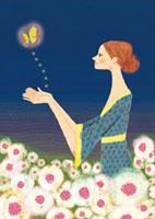夜の花畑で蝶を放す女の子