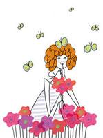 花と蝶に囲まれている女の子 20041000361| 写真素材・ストックフォト・画像・イラスト素材|アマナイメージズ