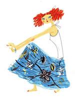 ブルーのスカートの女の子